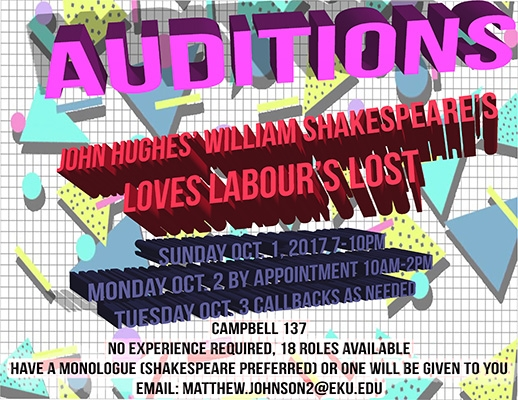 Loves Labor's Lost audition announcement
